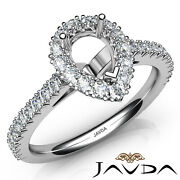 Diamond Engagement Pear Anniversary French V Cut Pave Set Semi Mount Ring 1ct