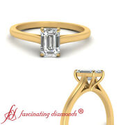 Emerald Cut Diamond High Set Solitaire Engagement Ring In Yellow Gold 0.90 Ctw
