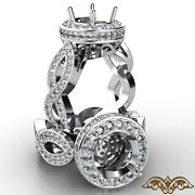 Round Cut Semi Mount Diamond Engagement Ring Pave Setting Infinity Shank 1.3ct