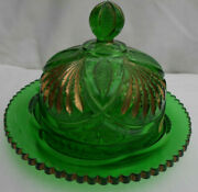 Heisey Glass Pineapple And Fan Covered Butter Dish Green Gold Eapg Antique 1898