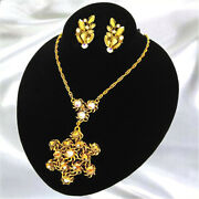 Vintage West Germany Gold Aurum And Ab Rhinestone Necklace And Earring