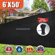 Black 6and039 X50and039 Privacy Screen Mesh Fence Cover Windscreen Fabric Slat Yard Garden