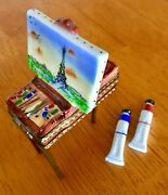Limoges Rochard Peint Main Porcelain Easel With Eiffel Tower And Paint Tubes