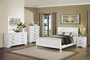 5 Pc White Louis Philippe King Sleigh Bed N/s Dresser Mirror Chest Bedroom Set