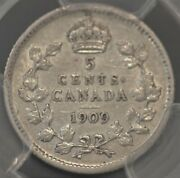 1909 Pcgs Certified Au 53 Canadian Five Cents Round Leaves Cross/bow Tie-rare