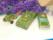 Vintage Military Vehicle Tin Friction Toy Lot Made In Japan