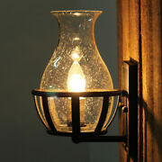 Farmhouse Vintage Led Wall Light Porch Hallway Wall Lamp Sconce With Glass Shade