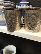 Antique Islamic Arabic Calligraphy Solid Silver Pr Of Beaker Cup By Jafar