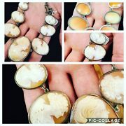 Amazing Antique Perfect Sterling Shell Cameo Necklace With 7 Different Cameos