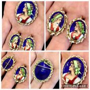 Gorg Antique 14k French Enamel And Seed Pearl Pin / Brooch / Pendant W Earrings