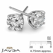 4 Prong Double Wire Round Cut Diamond 1 Pair Stud Womenand039s Earrings 1/2 Ctw.