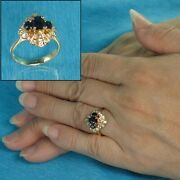 18k Yellow Gold Genuine Diamonds Natural Blue Oval Sapphire Cocktail Ring Tpj