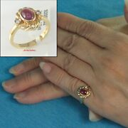 18k Solid Yellow Gold Natural Diamonds Cabochon Red Ruby Solitaire Ring Tpj