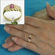 18k Solid Yellow Gold Genuine Diamonds Natural Red Oval Ruby Solitaire Ring Tpj