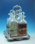 1815 Heavy Sterling Silver Decanter Caddy 4 Decanters Charles Fox London 1008g