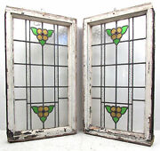 Pair Of Vintage Antique Stained Glass Windows 2723nj