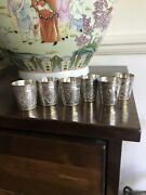 Antique Islamic Arabic Set Of 6 Solid Silver Carved Shot Cup Goblets By Jafar