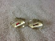 Collectible Mens Swank Gold Toned Cuff Links With Red Rectangle Glass Stones