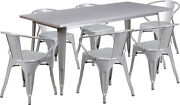 31.5'' X 63'' Rectangular Silver Metal Indoor Table Set With 6 Arm Chairs New