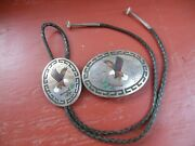 Vintage Navajo Silver Inlay Buckle And Bolo Matching Set Benson Boyd Native