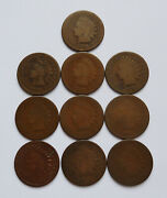 Lot Of 10 1868 U.s. Indian Head Pennies Fair To About Good Condition