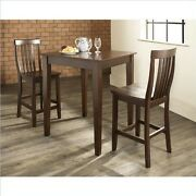 Crosley 3-piece Pub Dining Set With Tapered Leg And School House Stools, Vintage
