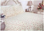 Shabby Cottage Chic Romantic Pink Roses And Butter Cream Queen Quilt Set 3pc
