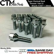 20 Pc Chrome 14x1.5 Conical Seat Lug Bolts 0.93and039and039 24mm Thread Fit Audi Mercedes