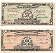 2 - Postal Savings System Series 1917 10 And 20 Certs.1926 Issues Atlantic City