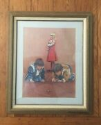 Vintage Don Marco Boys Kids Playing With Marbles Framed Art Print 20 X 24
