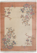 Rra 9x12 Chinese Art Deco Floral Design Ivory And Peach Rug 28643