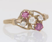 Antique Ostby Barton 10k Gold .50ct Ruby And Diamond Victorian Ring Size 8.75
