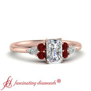 3/4 Carat Radiant Cut D-color Diamond And Ruby Gemstone 7 Stone Engagement Ring