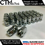 32pc Chrome 14x1.5 Wheel Lug Nuts Bulge Acorn 1.38and039and039tall Fit Ford Chevy Gmc More