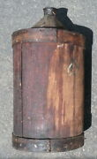 Antique Primitive Mid-late 1800and039s Wood Wrapped Tin Cone Top Cork Sealed Barrel