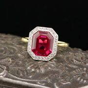 Edwardian 18k Yellow Gold French Synthetic Ruby And Diamond Cocktail Ring