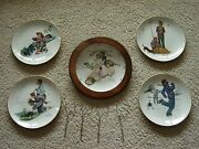 Norman Rockwell Four Seasons Plates 4 Plus Matching Clock Limited Edition Euc