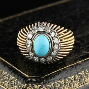 Vintage Estate 18k Yellow Gold Natural Turquoise And Diamond Cocktail Ring