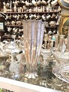 Antique 19th C Islamic Arabic Solid Silver Super Jumbo Size Carved Flowers Vase