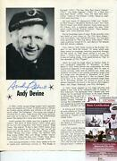 Andy Devine Signed Photo Page Autograph Actor Jingles In Tv Wild Bill Hickok