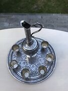 Antique Islamic Arabic Solid Silver Carved Drinking 6 Shot Beakers Cup Jug Tray