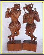 Antique Carved Wood Statues Pair Jester Musician Figures Victorian 3953