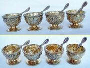 Antique Open Salts Matching Spoons Set 4 Gilt Silver W Armorial R Hennell 4510