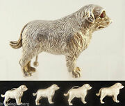 Antique Dog Sterling Silver Place Card Or Menu Holders Tableware Boxed Set 5509