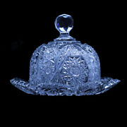 Butter Plate And Dome Butter Dish Antique American Brilliant Cut Glass 5255