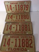 Florida 1972 4 Consecutive Number License Plates 14-11879 To 14-11882