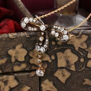 Antique Victorian 14k Yellow Gold Diamond Bow Convertible Pendant And Pin