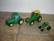 Lot Of 3 Nice 1/64 Vintage Green And Yellow Heavy Duty Tractors Free Shipping