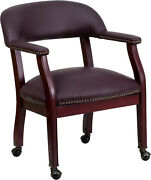 Flash Furniture Burgundy Leather Luxurious Conference Chair Casters B-z100-lf19
