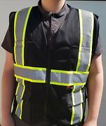 Fx Two Tone Hi-vis Black Safety Vest W/ 4 Front Pocket Small To 4xl Ships Free